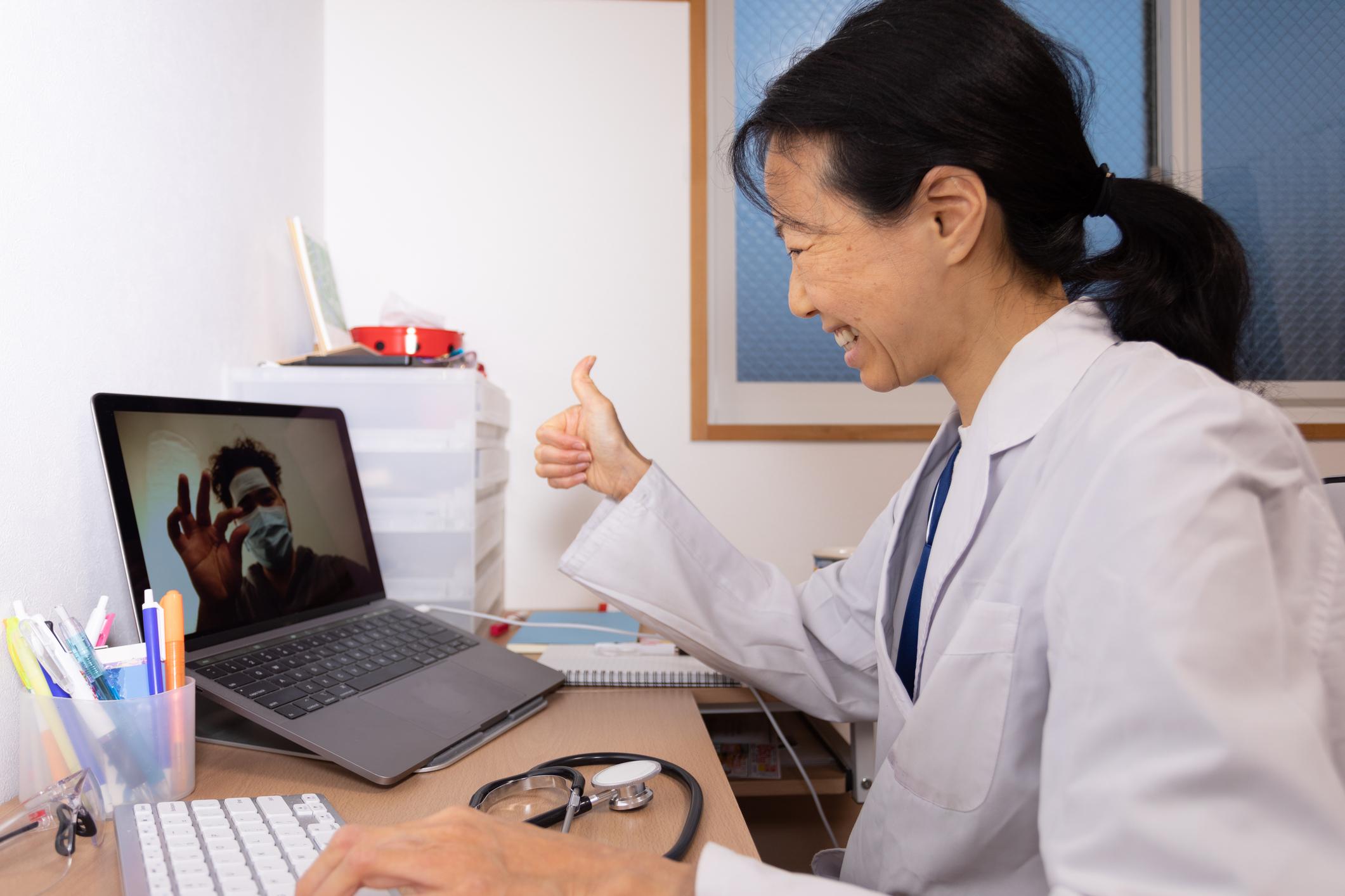 Doctor conducting telehealth visit