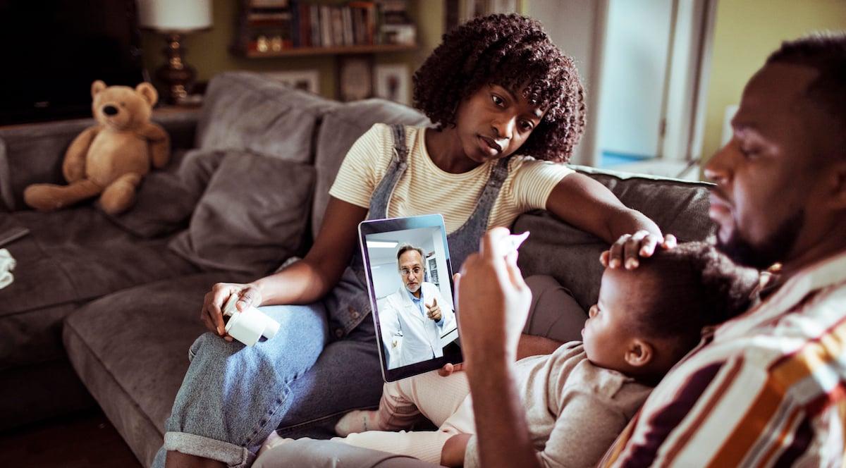 Family using telehealth