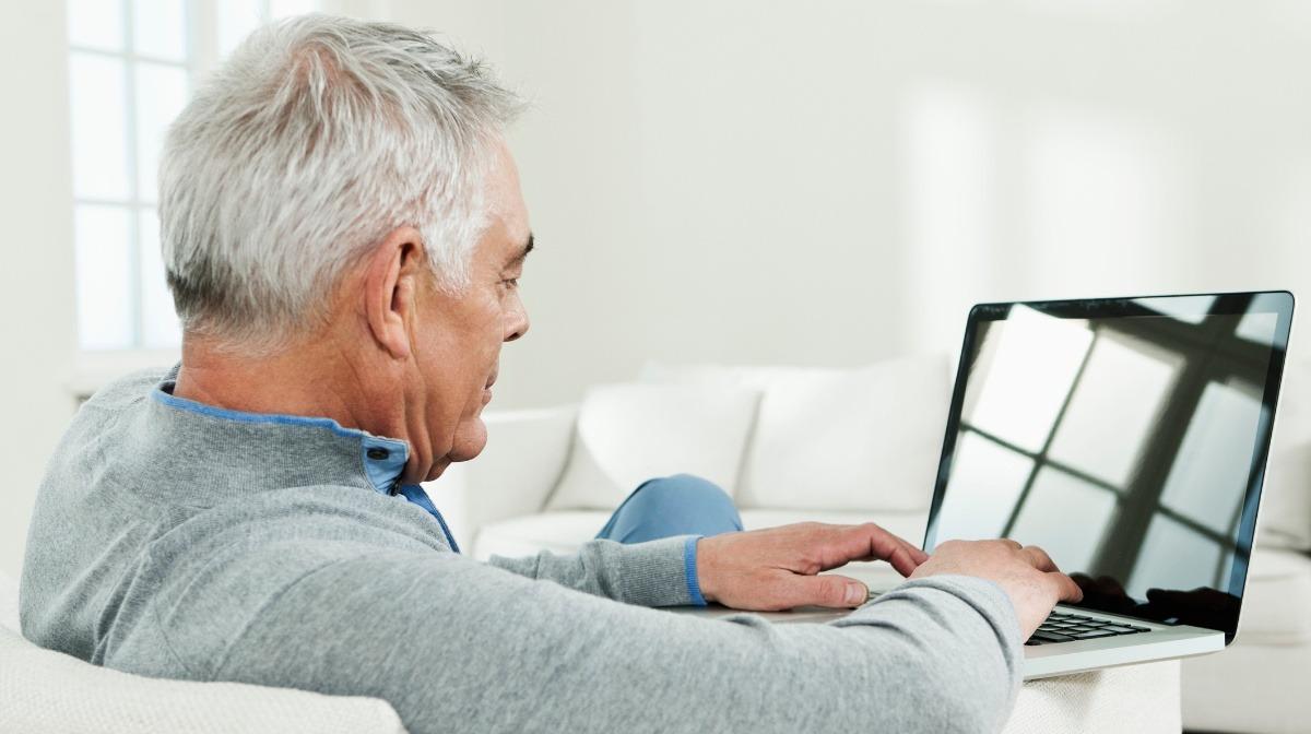 Senior man using patient portal